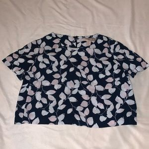 Blue cropped chiffon short sleeve from Forever 21